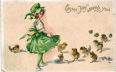 Clapsaddle Easter Uns Girl In Green Chicks Nice 1910 A/S