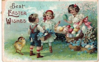 Clapsaddle Easter Uns Children Painted Eggs 1910 A/S
