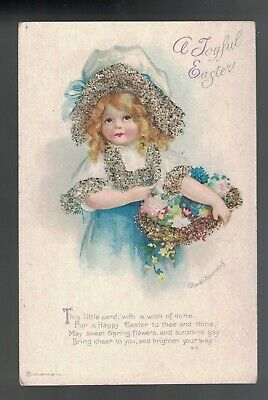 Clapsaddle Easter Bead Applique Blond Girl Flowers Basket 1910 A/S