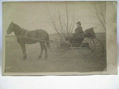 1910 Real Photo Postcard Man In Horse Drawn Carriage