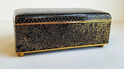 Fine Late Qing or Republic Chinese Black Cloisonne Footed Box Wonderful Shape