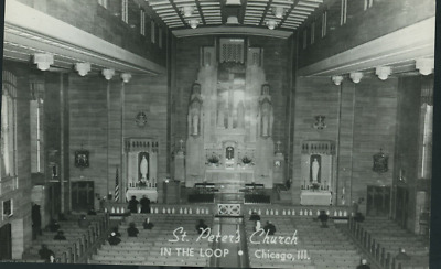 Chicago Illinois St Peters Church Interior In The Lop  Rppc  (#8-42)