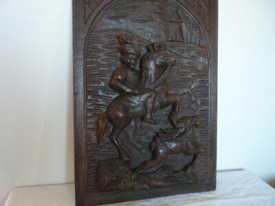 Antique French Breton Solid Wood Carved Panel Reclaimed