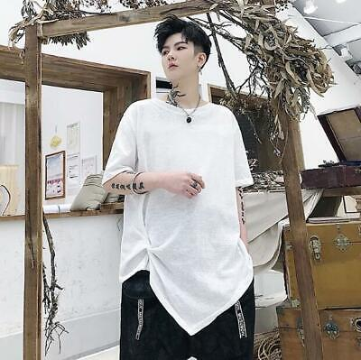 Men's Fashion Design Summer Crew Neck Short Sleeve Cropped T-shirt Casual Tee
