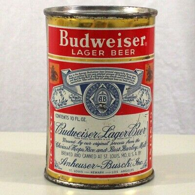 Budweiser Lager Beer 10 OZ Flat Top Beer Can Anheuser-Busch St. Louis MO 44-9