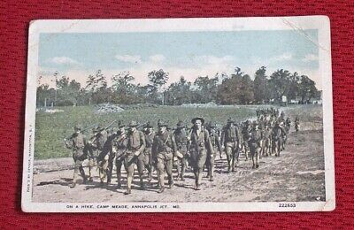 Vintage Wwi Era On A Hike / Camp Meade, Annapolis, Md. Unposted Postcard #222653