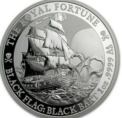 2020 Tuvalu 1 oz Silver Black Flag (The Royal Fortune) SHIPS FREE NOW!!!