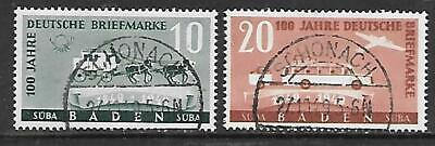 GERMANY - Fr. Zone - BADEN - 1949.  Stamp Centenary - Set of 2, Used (CTO)