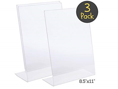 "1InTheOffice Slanted Sign Holder 8.5 x 11""3 Pack"""