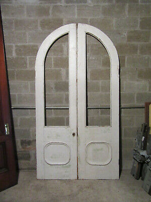 ~ Antique Double Entrance French Doors Arched Top ~ 54 X 101 ~ Salvage