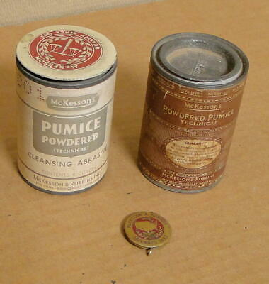 2 Empty Antique McKesson's 4 oz. Powdered Pumice Tins + Brass Pendant