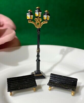 Lot 3 Vintage J. Carlton D. Gault French Miniatures 1 BLACK LAMP POST 2 BENCHES