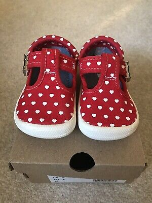 Clarks Infant Size 4 F Red white Hearts Pumps Shoes Girls Worn Once