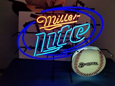 Miller lite beer Milwaukee Brewers baseball neon light up bar sign game room