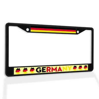 Metal License Plate Frame Vinyl Insert Flag of Germany with Map1 German