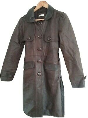 KOOKAI long Brown Vintage Style Leather Coat Size S