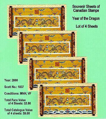 "CANADA STAMP - Lot of 4 Sheets of ""Year of the Dragon"" Souvenir Sheet, MNH, VF"
