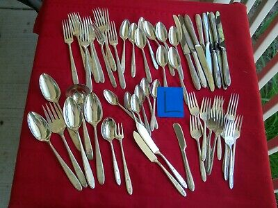 Silverplate Flatware 56 Pc Oneida Community Grosvenor 1921 Serving & Demitasse