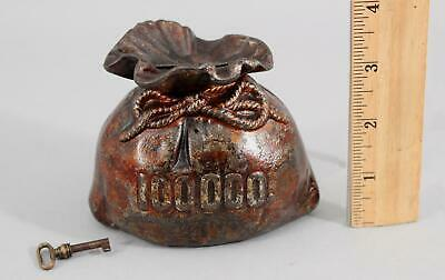 Antique Painted Cast Iron $100,000 Money Bag Still Bank & Key, NO RESERVE