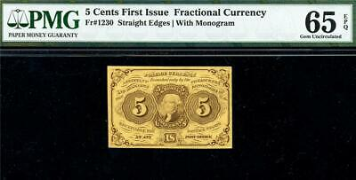 HGR FRIDAY 1st Issue 5c FRACTIONAL (Washington RARE Grade) PMG GEM UNC 65EPQ