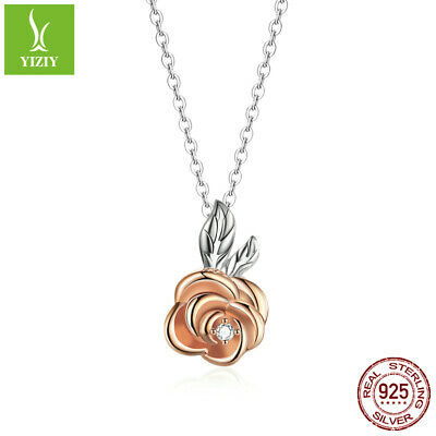 Authentic 925 Sterling Silver Two-color rose Necklace Jewelry Women Presents