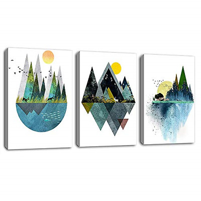 Wall Decor Abstract Geometric Mountains Artwork Landscape Canvas Painting Murals