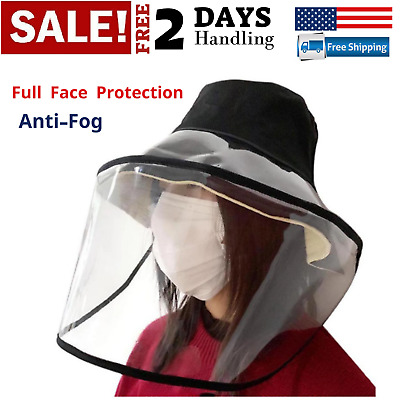 Full Face Fisherman Hat Clear Mask Removable Protective Outdoor Cap Anti-fog