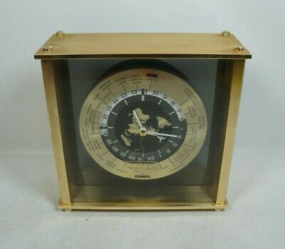 SEIKO WORLD CLOCK Time International Date Line Shelf Mantle QQZ885A Tested