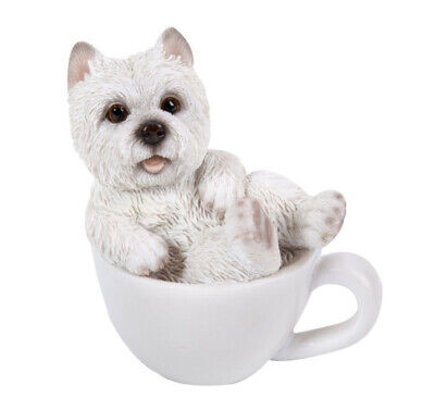 # New TEACUP PUPS Figurine Statue WESTIE DOG PUPPY in Cup Mug WHITE TERRIER