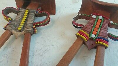 2 South African Beaded Tribal Head Rests