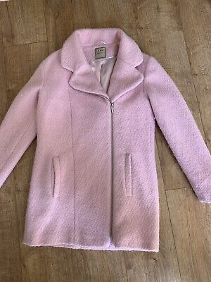 NEXT Pink Wool Blend Oversized Zipped Coat Age 15-16 years Size  8 10