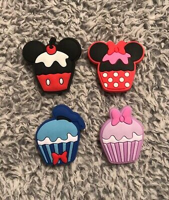 Croc Charms / JIBBITZ : 4PIECE LOT Disney Inspired Cupcakes - Mouse & Duck