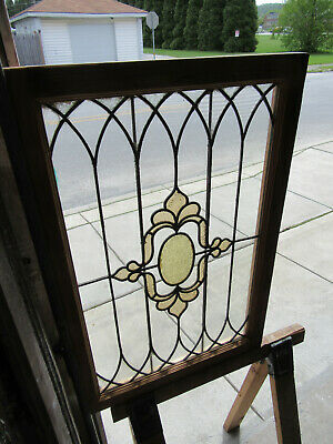 ~ ANTIQUE STAINED GLASS WINDOW ~ 25 x 37 ~ ARCHITECTURAL SALVAGE ~