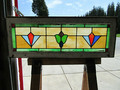 ~ Antique Stained Glass Transom Window Colorful ~ 43.25 X 16 ~ Salvage ~