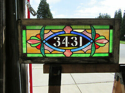 ~ ANTIQUE STAINED GLASS TRANSOM WINDOW ~ 31.5 x 14 ~ ADDRESS 3431 ~ SALVAGE ~