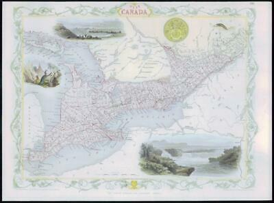 "1850 - Original Antique Map of ""WEST CANADA"" by TALLIS - FULL COLOUR (14)"