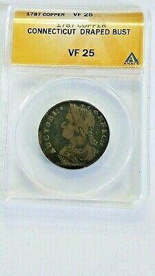 1787 Connecticut Large Cent Colonial U.S. Coin ANACS VF 25 Bust Left