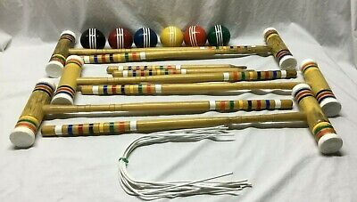 Vintage FORSTER 6 Player CROQUET SET Complete w/ Carrying Bags USA