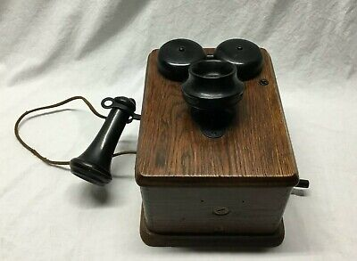 Antique Vintage Genuine Kellogg Wooden Hank Crank Telephone with Innards