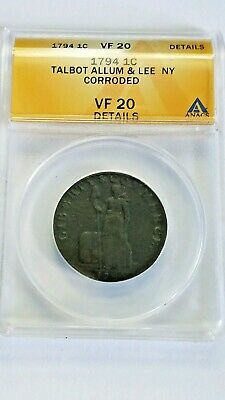 1794 Talbot Allum Lee Colonial U.S. Coin Large Cent Sized Copper ANACS