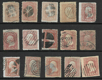 Sc #65 Shades Fancy Cancels SON Collection 3 Cent Washington 1861-62 US 83B51
