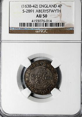 Great Britain 1638-42 Aberystwyth Charles I Silver Four Pence Groat NGC AU S2891