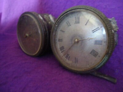 Antique French Platform Barrel Clock Movement & Aneroid Barometer, S O R