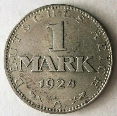 1924 WEIMAR GERMANY MARK - UNCOMMON High Value Silver Coin - Lot M30