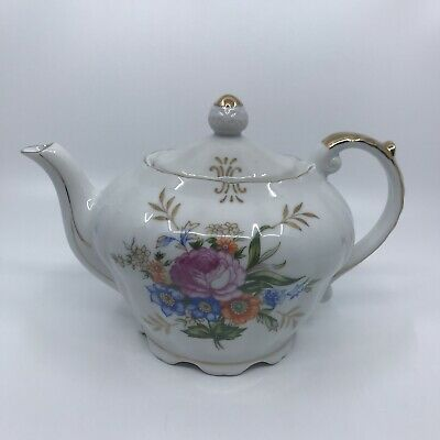 Vintage Floral Musical Tea Pot With Gold Accents Plays Tea For Two