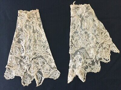 """Antique Victorian Lace Cuffs ivory 12"""" long"""