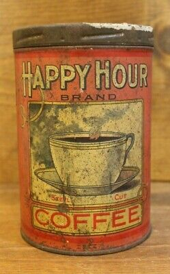 COFFEE TIN Vintage HAPPY HOUR BRAND BLOOMINGTON ILL CAMPBELL HOLTON CO RARE OLD