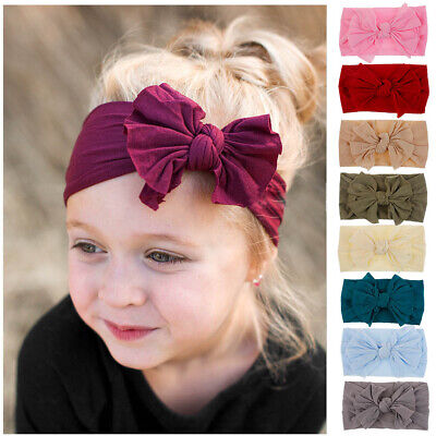 Turban Toddler   Head Wrap  Nylon Headband  Bow Hairband  Bowknot Baby Girls