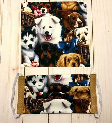 Handmade Face Mask Double Layer Fabric Assorted Cute Puppies  Washable