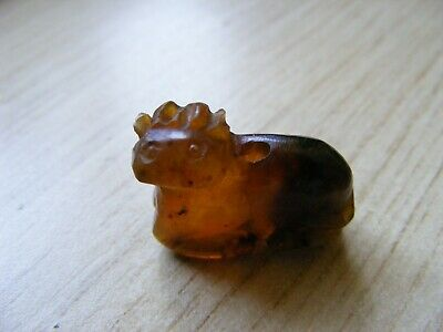 Antique Chinese Hand Carved Jade / Hardstone Figure Drilled Bead Pendant